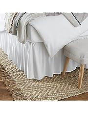 AmazonBasics Ruffled Bed Skirt, 16 Inch Skirt Length, Queen, Bright White