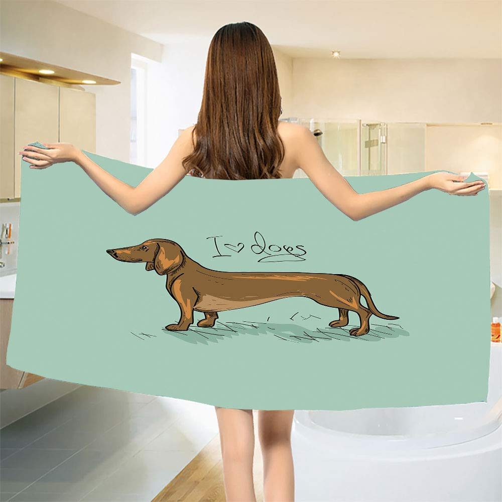 smallbeefly Dachshund Bath Towel Dachshund Puppy on an Abstract Turquoise Background Pure Breed Animal Bathroom Towels Turquoise Brown Black Size: W 31.5'' x L 69''