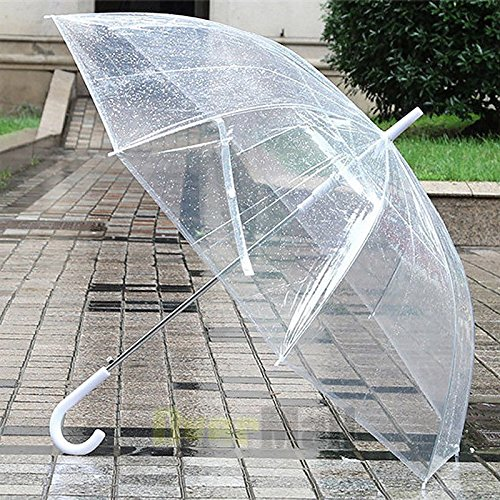 Large Transparent Clear Dome See Through Umbrella With White Handle New (See Umbrella Patio Through)