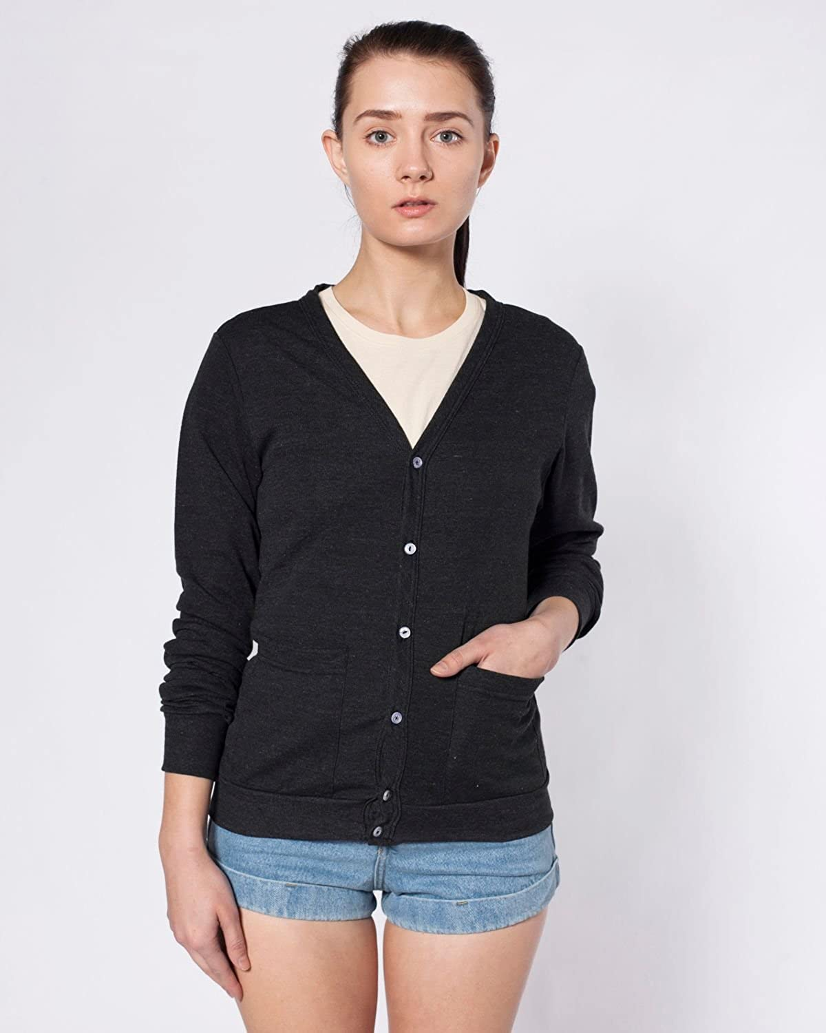 American Apparel Tri-Blend Rib Cardigan - Tri-Black / XS