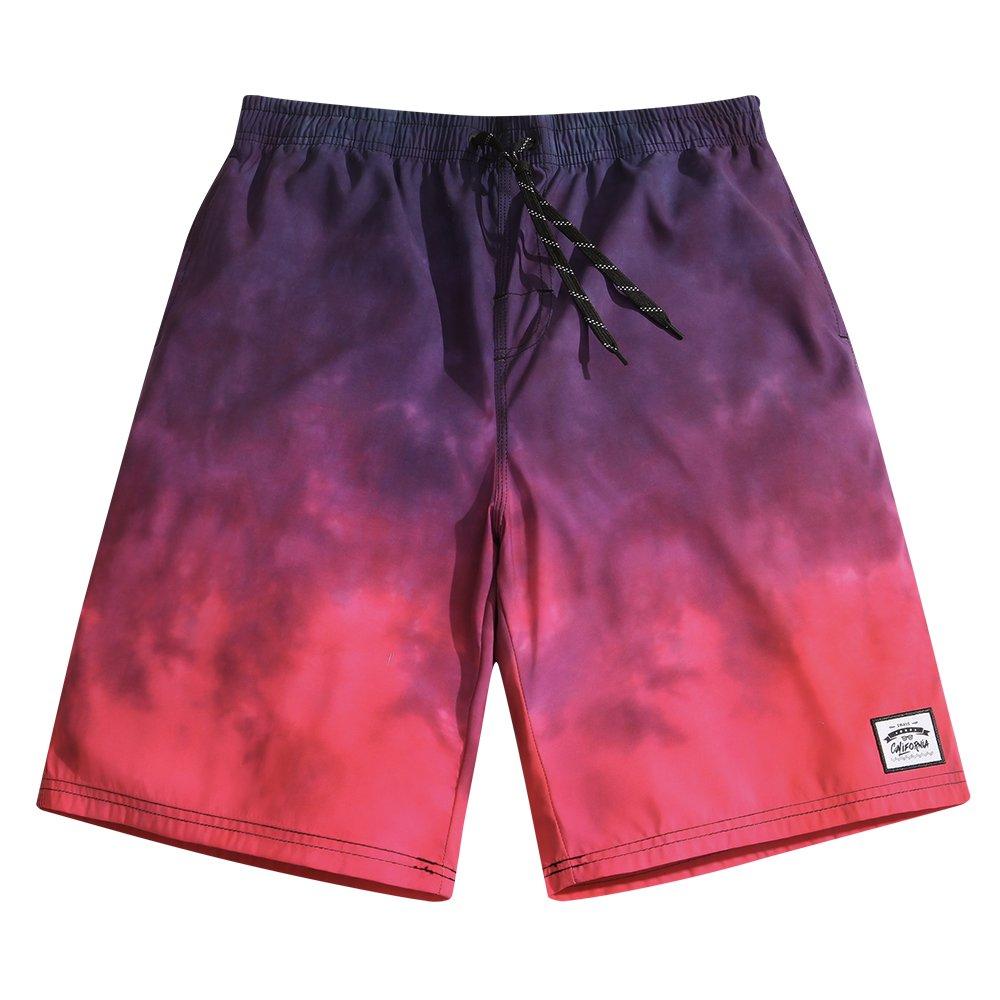 Sulang メンズ スリムフィット 超速乾 水泳パンツ ボードショーツ (メッシュ裏地なし) B07771VDZM 3L|Gradient Red & Navy Gradient Red & Navy 3L