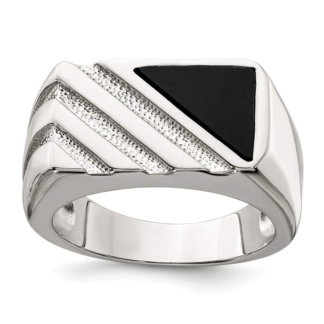 ICE CARATS 925 Sterling Silver Mens Black Onyx Band Ring Size 11.00 Man Fine Jewelry Dad Mens Gift Set