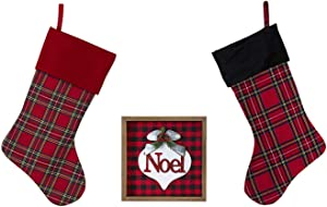Tartan Buffalo Plaid Christmas Stockings with Noel Tabletop Decor - Red and Black