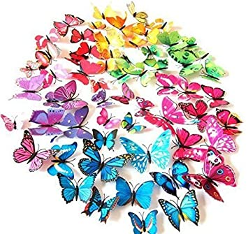72 Pcs 3d Butterfly Stickers Home Decoration DIY Removable Vivid Special Man Made Lively