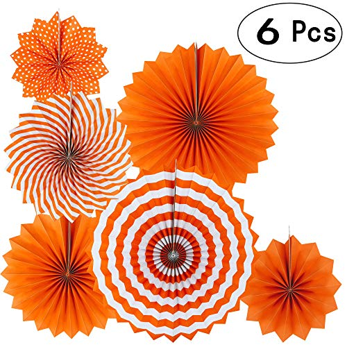 Orange Fall Party Hanging Paper Fans Party Ceiling Hangings Thanksgiving Wedding Engagement Bridal Shower Baby Shower Birthday Party Decorations, 6pc -