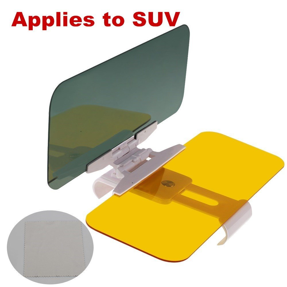 RIMDOMN Sun Visor Extender,Car Day and Night Anti-Glare Visor, 2 in 1 Automobile Sun Anti-UV Block Visor Non Glare Anti-Dazzle Sunshade Mirror Goggles Shield for Driving Goggles(Applies to SUV)