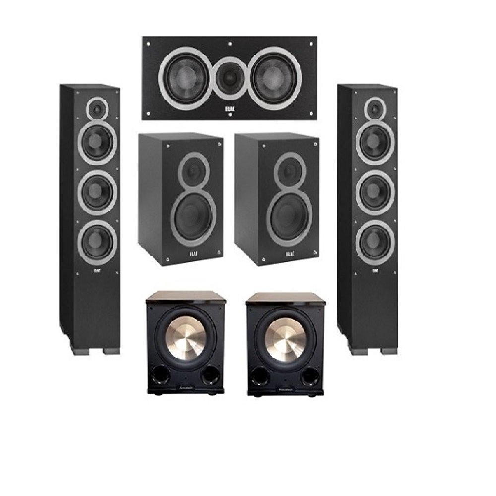 Elac 5.2 System with 2 Debut F6, 1 Debut C5 Center Speaker, 2 Debut B5, 2 BIC/Acoustech Platinum Series PL-200 II Subwoofer by Elac