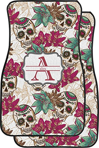 Pink Skull Car Seat Cover - RNK Shops Sugar Skulls & Flowers Car Floor Mats (Front Seat) (Personalized)