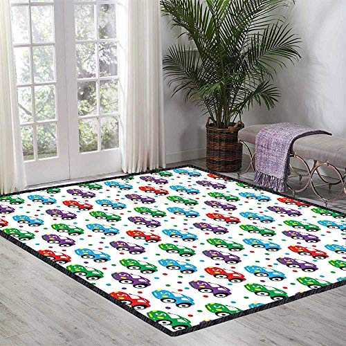 (Cars Children's Bedroom Carpet Children Baby Boy Toy Figures Pattern with Dots Number Five Cars for Joyous Play Time Non-Sliding Indoor Carpet 55.11 Inch x 62.99 Inch Multicolor)