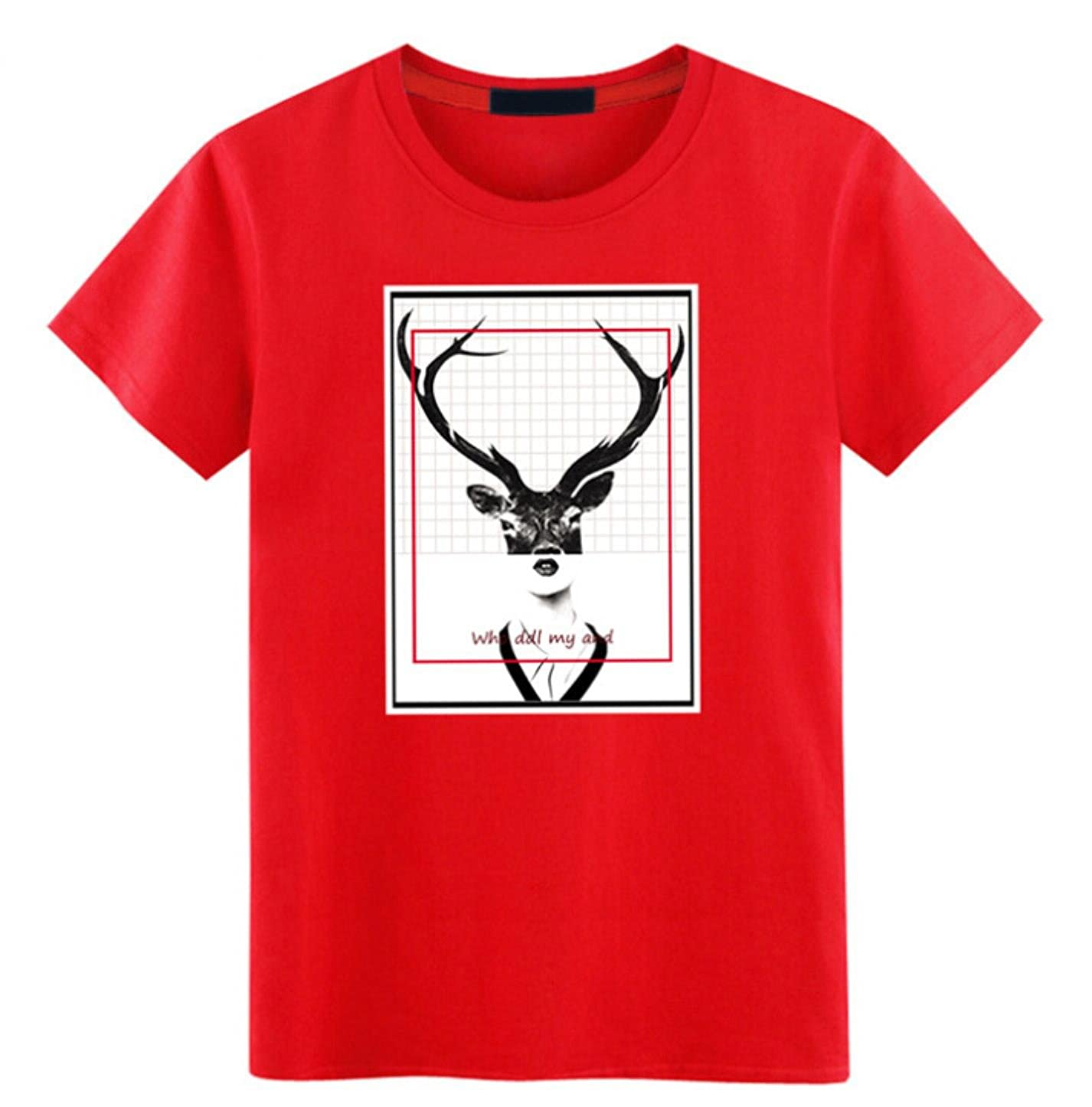 2017 Loose Large Size Mens Short Sleeve T-Shirt Cotton Round Pen Print T Red Tide Dress New
