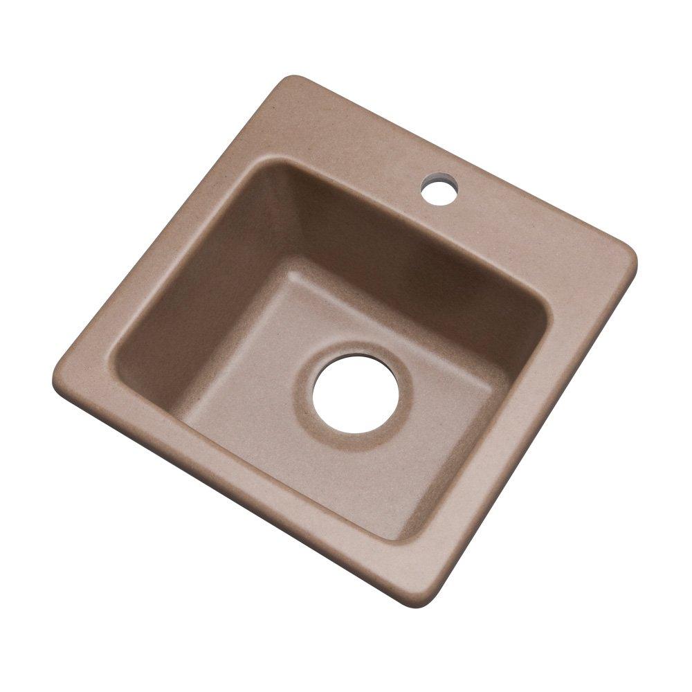 16 Dekor Sinks 27115Q Duxbury Composite Granite Prep Sink with One Hole Desert Sand 16