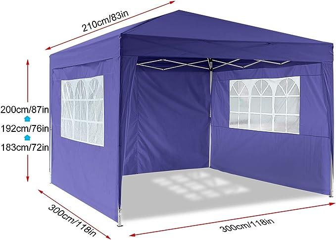 Hiriyt - Carpa para jardín (3 x 3 x 6 m, Paneles Laterales ...