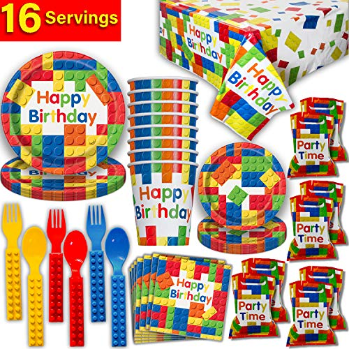 Building Block Party Supplies 16 guest - Large and Small Plates, Cups, Lego Compatible Forks and Spoons, Tablecloth, Napkins, Loot Bags - Perfect Tableware for Brick Theme Birthday -