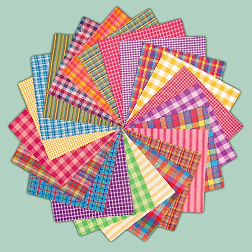 40 Bright Charm Pack, 6 inch Precut Cotton Homespun Fabric Squares by Jubilee Creative Studio