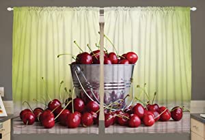 Ambesonne Country Home Decor Kitchen Curtains, Cherries Bucket Green Ombre Fruit Bowl Picture Village, Window Drapes 2 Panels Set for Kitchen Cafe, 55W X 39L Inches, Avocado Green Grey and Red