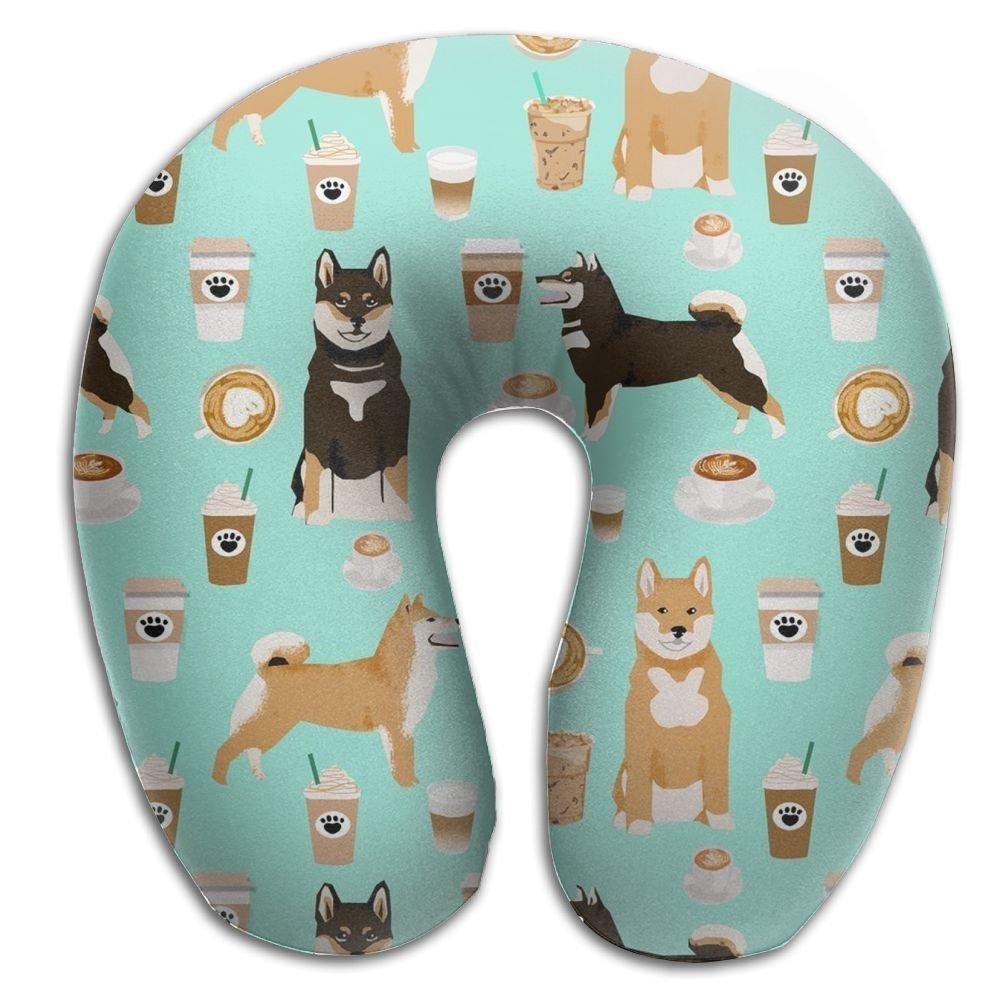 柴犬コーヒー印刷犬とCoffees快適マスターネックU枕首の痛みホーム旅行枕 B079BWH39B