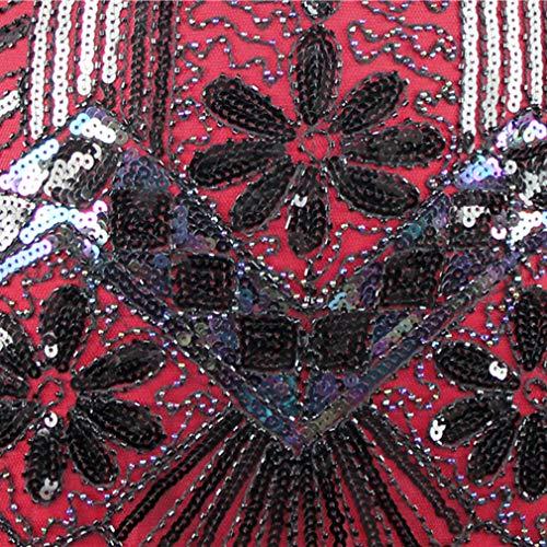 5 Art Flapper Perlé Vintage Élégant Déco S Robe xl Soirée V Sans Manches Femme Vin Gatsby Gland Ourlet 1920s Couleurs Paillette Fête Rouge Hongxin De Bal Vêtements Rétro Cou 4Aw8qPw