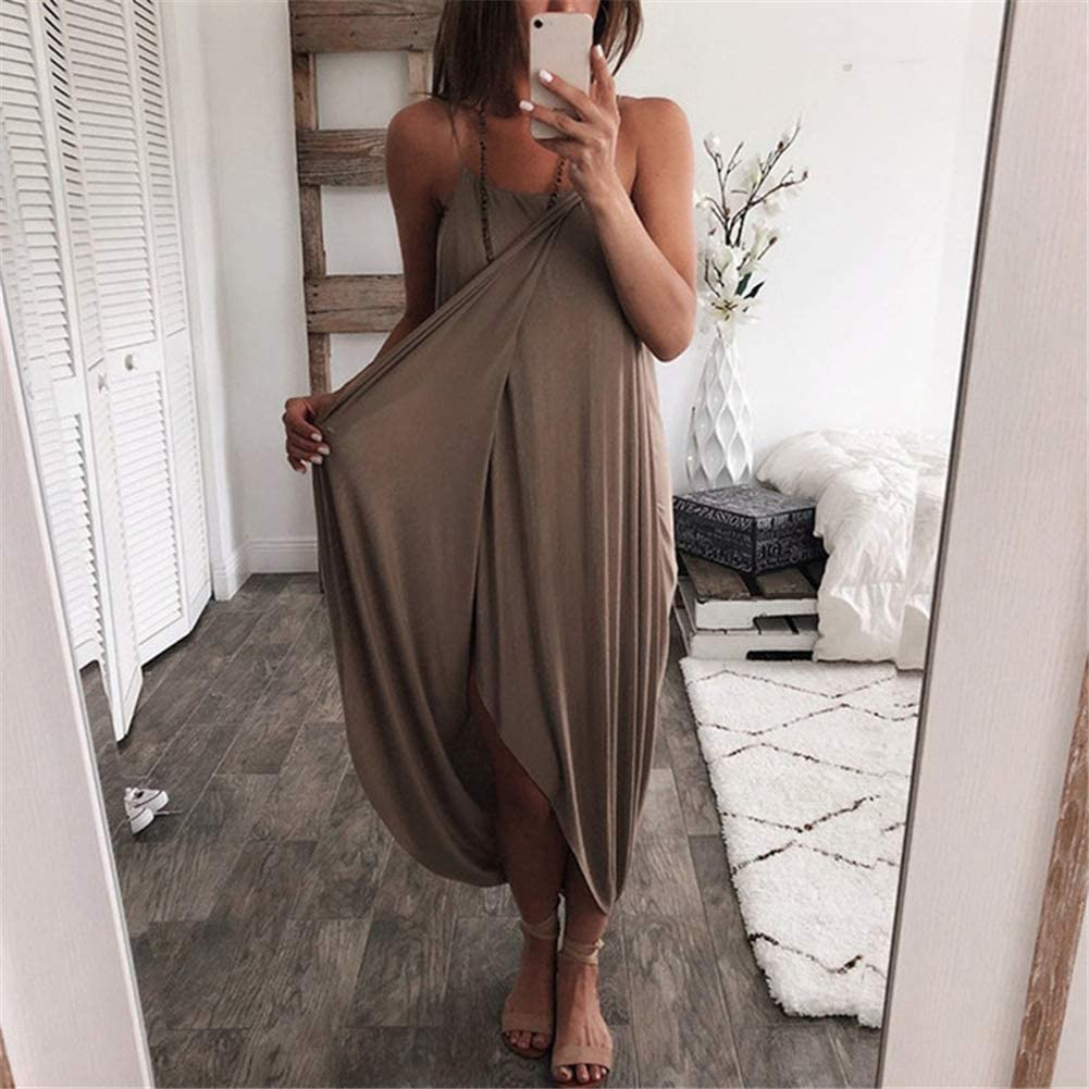 Belegend Women Airy Maxi Dress Solid Color Knitting Sleeveless Loose for Summer Beach Party
