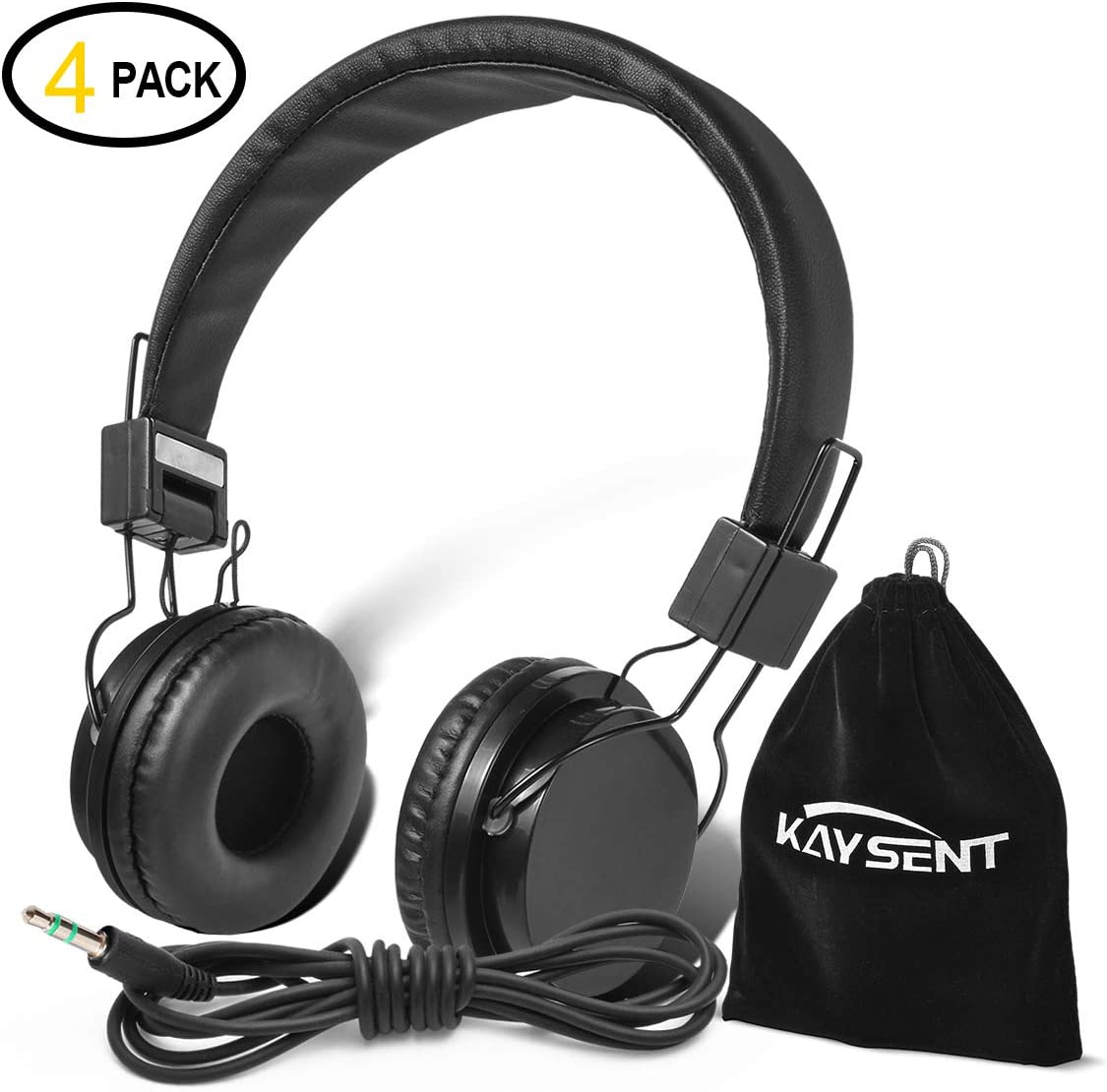 Kaysent Heavy Duty Headphones Set for Students – KHPB-4B 4 Packs Classroom Kids Headphones for School, Library, Computers, Children and Adult No Microphone