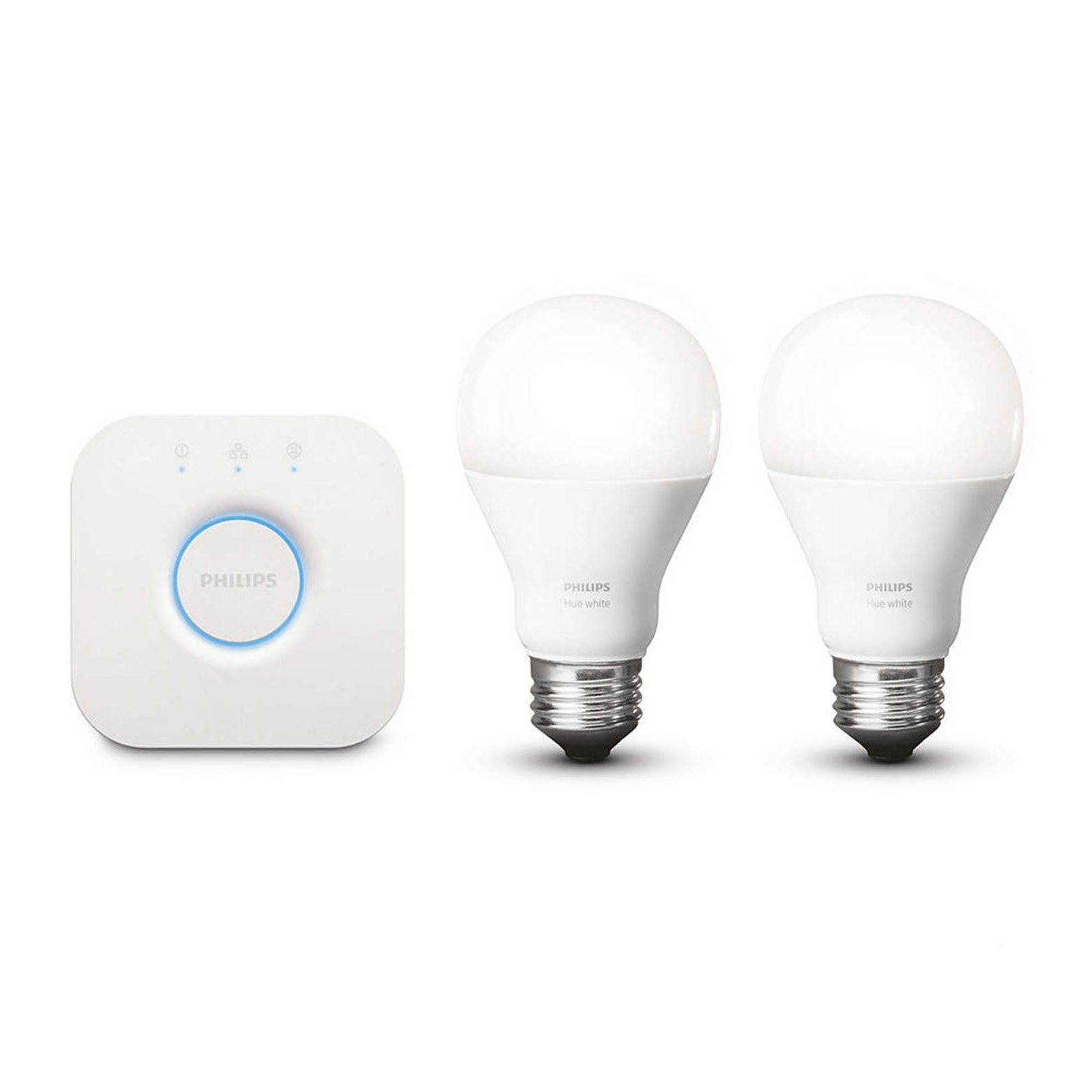 Philips Hue White A19 60W Equivalent Dimmable LED Smart Light Bulb Starter Kit (2 A19 60W White Bulbs and 1 Bridge, Works with Alexa, Apple HomeKit, and Google Assistant (Certified Refurbished)