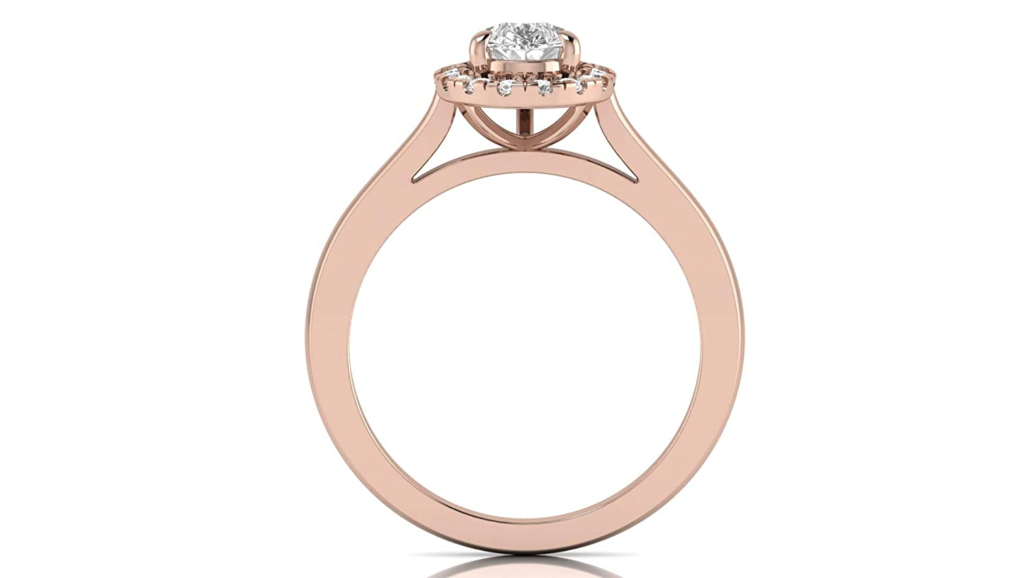 Krivox 1.50 ct Pear /& Round Cut Simulated Diamond 14k Pink Gold Finish Halo Solitaire Engagement Ring for Womens