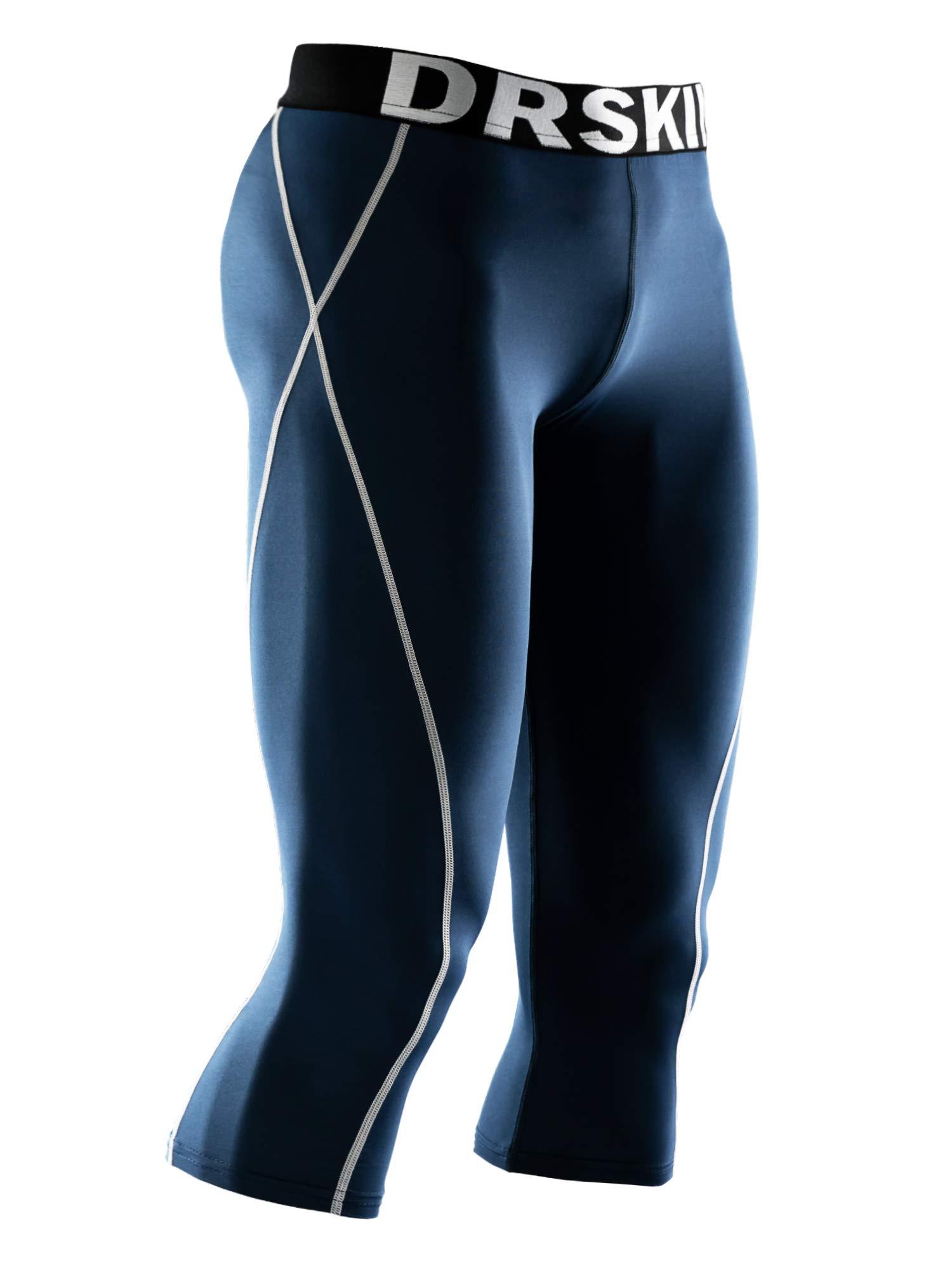 DRSKIN] Tight 3/4 Compression Pants Base Layer Running Pants Men (2XL, NG803) by DRSKIN