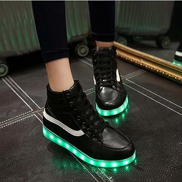 Damen hohe obere LED-helle Schuhe beiläufige flache Schuhe der Art und Weise sieben Farben ändern und elf Arten des blinkenden Modus , Black , 36