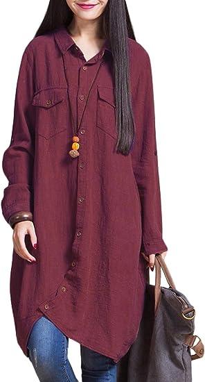 Romacci - Camisa larga de algodón para mujer, con borde irregular y botones, suelta, informal, color blanco, violeta y azul oscuro granate L: Amazon.es: Ropa y accesorios