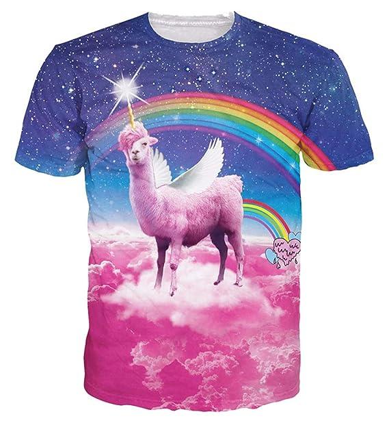 995e872e3ca4 Belovecol Lama Pacos T Shirt for Men Women 3D Galaxy Short Sleeve Tee Shirts  Tops S