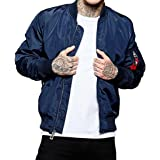 Youngshion Men's Casual Bomber Jacket Military Windbreaker Outdoor Air Force Coat Slim Fit Spring Autumn Winter