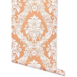 Mikado Damask, Orange Wallpaper for Walls - Double Roll - by Romosa Wallcoverings BB7331