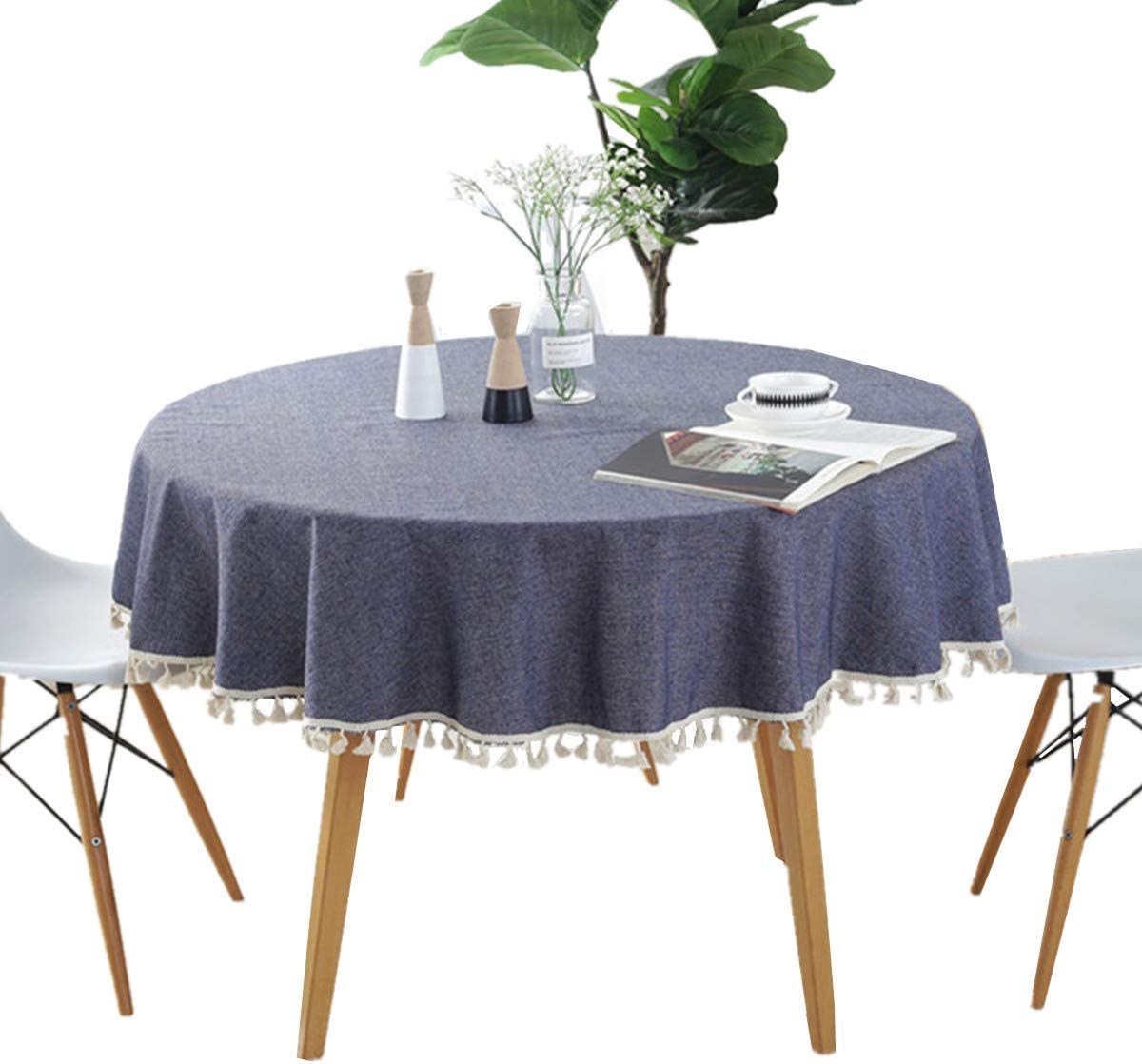 """Round - 60"""" Tablecloth Cotton Blue Tablecloth with Multi-Tassels for Home Tabletop Decoration"""