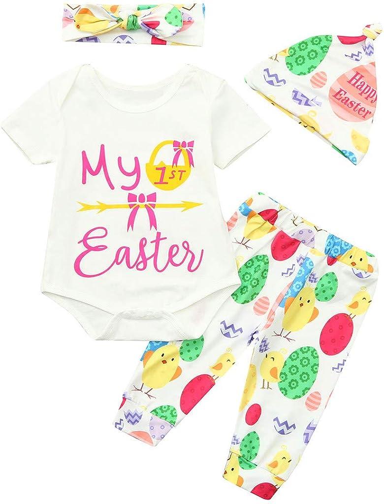 Sale:Zohto Romper Jumpsuit Baby,Easter Infant Baby Girls Boys Easter Egg Car Letter Romper Bodysuit Pant Hat Outfit Set