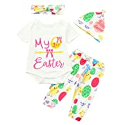 Cuekondy Newborn Toddler Baby Girls 2019 Easter Letter Print Romper Jumpsuit +Pants+Hat+Headband Summer Clothes Outfits (White, 6-12 Months)