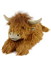 Everberry Highland Cattle Slippers - Plush Scottish Cow Slippers Brown