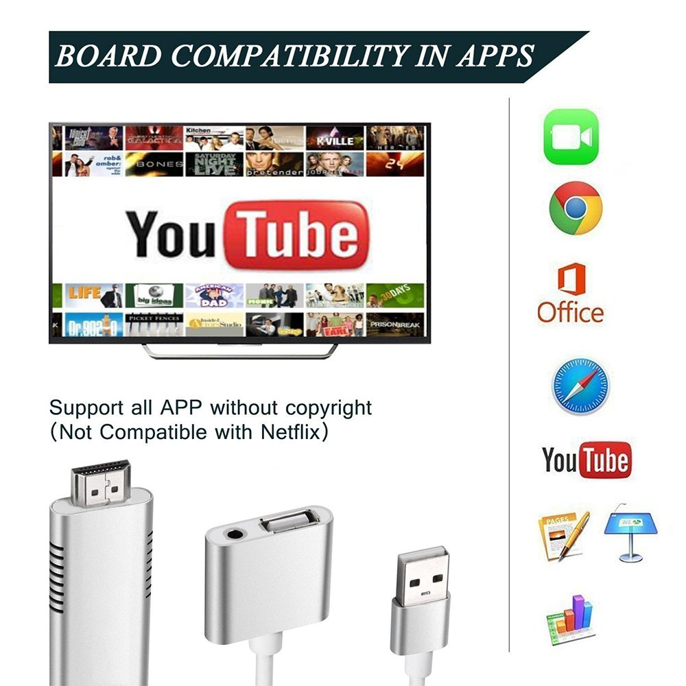MHL to HDMI Adapter for Smartphones, WEILIANTE HD 1080P HDMI Adapter 1080P Digital AV Adapter HDTV MHL Cable Support All Smartphones to Mirror on TV/Projector/Monitor by WEILIANTE (Image #4)