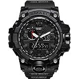 ERENCOOK Männer Jungen Analog Digital Armbanduhr Sportuhr 5ATM Wasserdichte Herrenuhr Militär Uhr Wecker Datum Kalender Alarm Tactical Watch LED Stoßfest für Herren Uhren