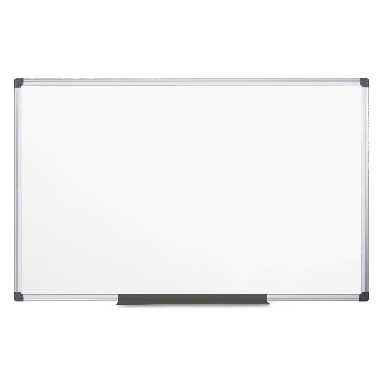 MasterVision Maya Melamine Dry Erase Board with Tray, 48'' x 96'', Whiteboard with Aluminum Frame