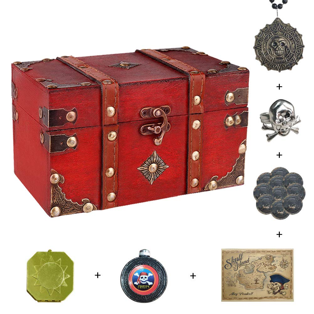 "SICOHOME Treasure Box 7.1"" with Pirate Trinkets"