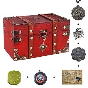 "SICOHOME Treasure Box 7.1"" with Pirate Trinkets"