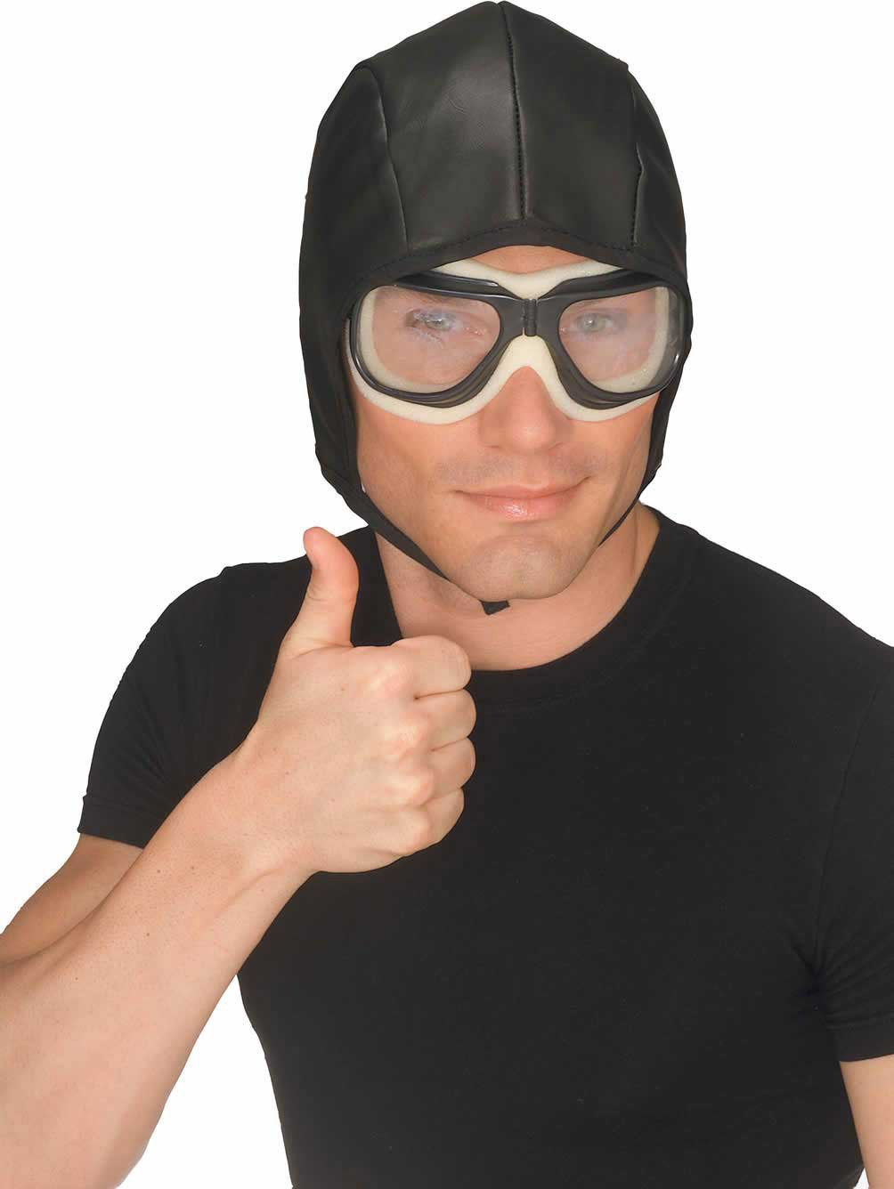 Black Aviator Helmet and Goggles for Adults
