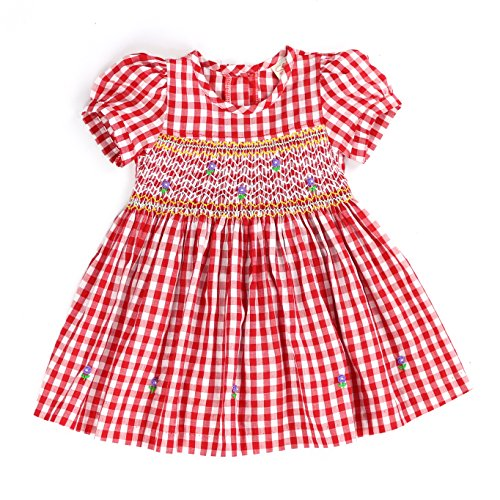 Pique Smocked Dress - Sissymini - Infant and Toddlers Hand Smocked Dress | Red Reding Hood's Plaid Picnic Basket in Robust Red (18-24M)