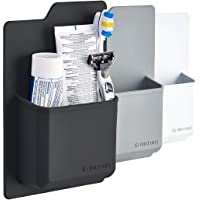 Tooletries Silicone Toiletry Organizer - Waterproof Toothbrush Holder/Razor Holder For Small Toiletry Items. Designed For Shower And Bathroom. Features Silicone Grip Technology - Reusable (Charcoal)