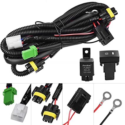 huiqiaods h11 880 881 h9 fog light lamp wiring harness socket wire  connector with 40a relay