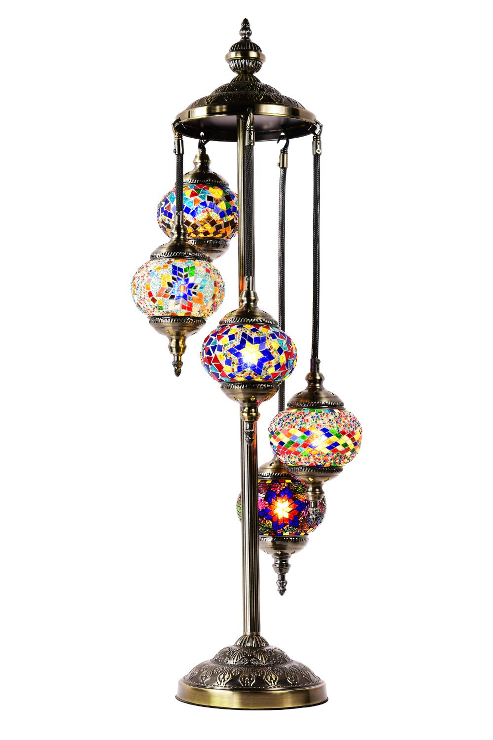 Marrakech Turkish Mosaic Floor Lamp 5 Globes Mosaic Glass Floor Lamp Moroccan Tiffany Style Lamp Decorative Night Light for Living Room Bedroom (Multi-Colored)