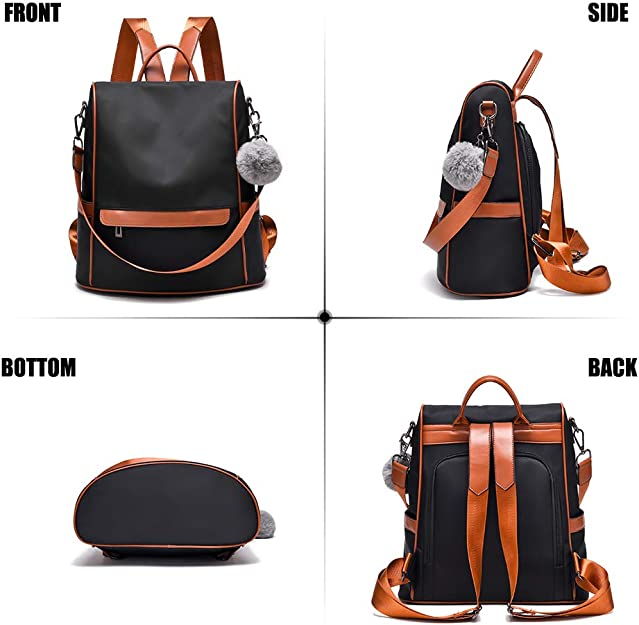 JOSEKO Lightweight Multi-Function Handbag Girls School Bag Anti-Theft Waterproof Shoulder Bag Messenger Cross Body Casual Daypack Travel Bag Back Packs Rucksack Women Backpack Nylon