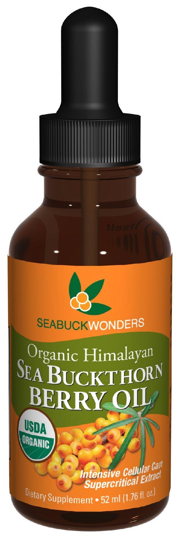 Sea Buckthorn Berry Oil - 100% Certified Organic, 1.76-Ounces Bottle (Pack of 12)