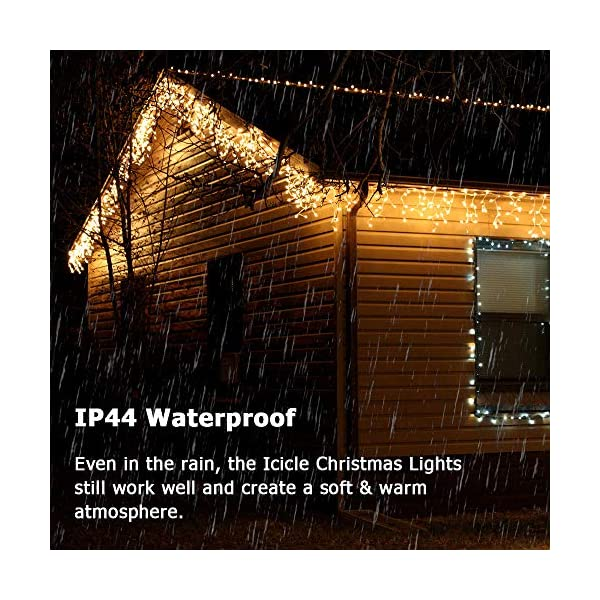Luci Natale Esterno Cascata, BrizLabs 8.8M 360 LED Tenda Luminosa Catena Luminosa Interno Luci Stringa Decorazione Natalizie 8 Modalità con Telecomando per Casa Feste Giardino Finestra, Bianco Caldo 5 spesavip