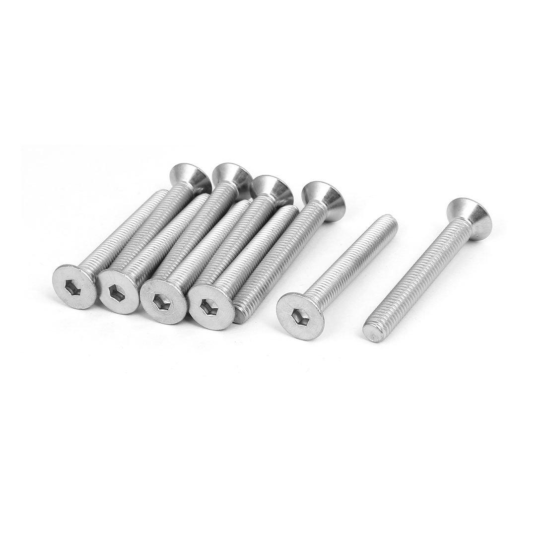 uxcell M8x60mm 304 Stainless Steel Flat Head Hex Socket Cap Screws DIN7991 10pcs