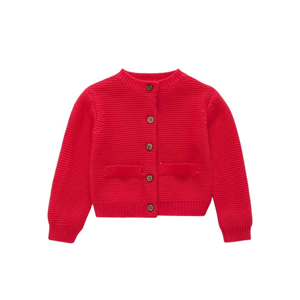 Lenfesh Kleinkind Jungen Mädchen Sweatshirt Strickjacke Pullover Outwear Botton warme gestrickte Feste Oberteile Pullover Outfit Mantel